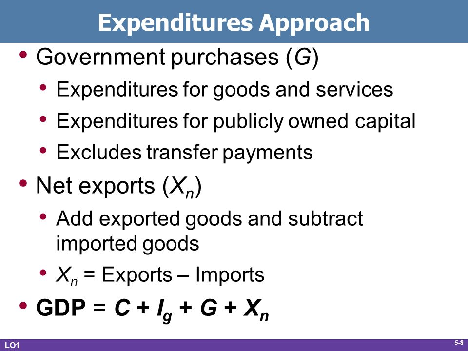 5-8 Expenditures Approach Government purchases (G) Expenditures for goods and services Expenditures for publicly owned capital Excludes transfer payments Net exports (X n ) Add exported goods and subtract imported goods X n = Exports – Imports GDP = C + I g + G + X n LO1