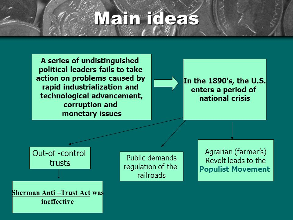 Main ideas A series of undistinguished political leaders fails to take action on problems caused by rapid industrialization and technological advancement, corruption and monetary issues In the 1890's, the U.S.