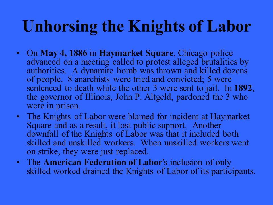Unhorsing the Knights of Labor On May 4, 1886 in Haymarket Square, Chicago police advanced on a meeting called to protest alleged brutalities by authorities.