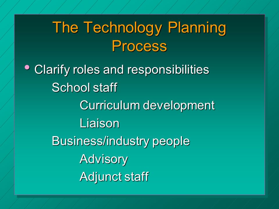 The Technology Planning Process Clarify roles and responsibilities Clarify roles and responsibilities School staff Curriculum development Liaison Business/industry people Advisory Adjunct staff