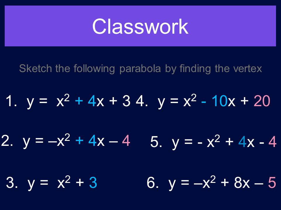 Classwork Sketch the following parabola by finding the vertex 1.