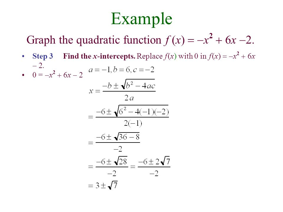 Example Graph the quadratic function f (x)   x 2  6x  Step 3 Find the x-intercepts.