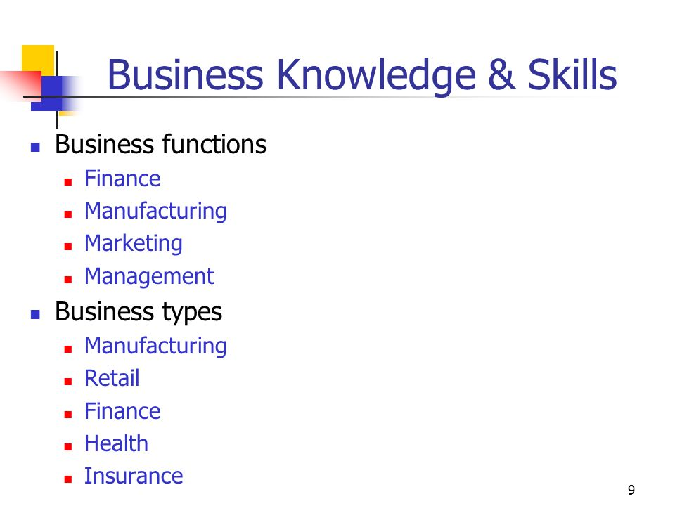 9 Business Knowledge & Skills Business functions Finance Manufacturing Marketing Management Business types Manufacturing Retail Finance Health Insurance