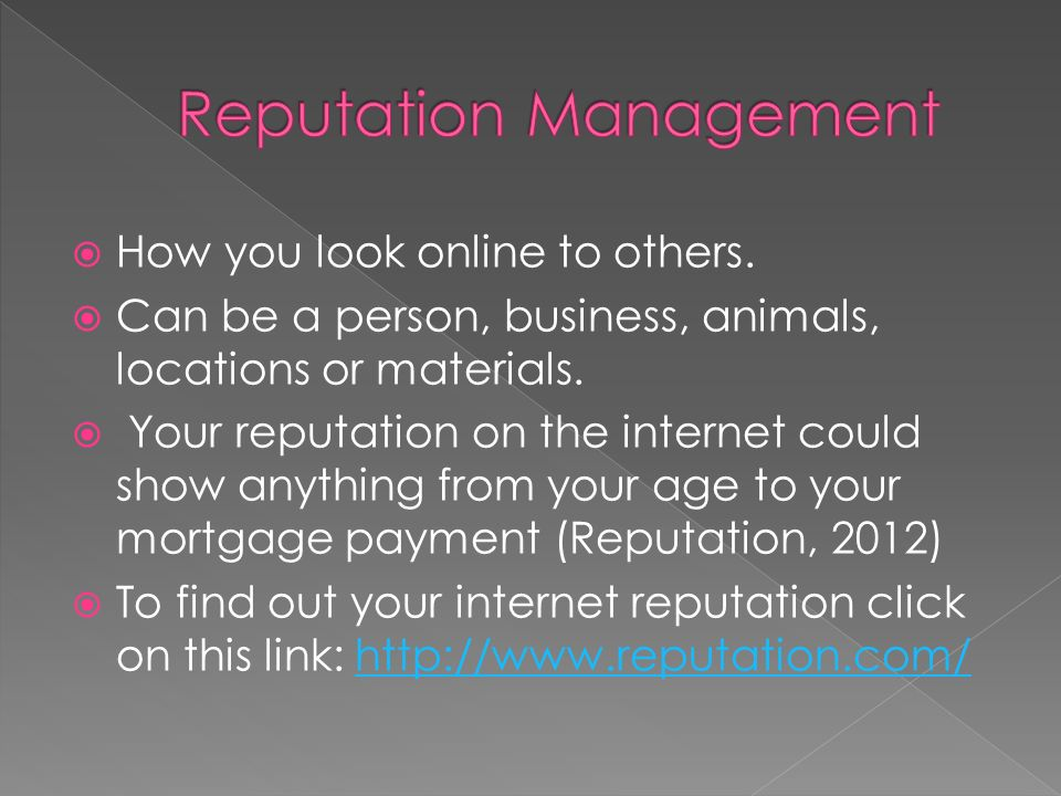  How you look online to others.  Can be a person, business, animals, locations or materials.