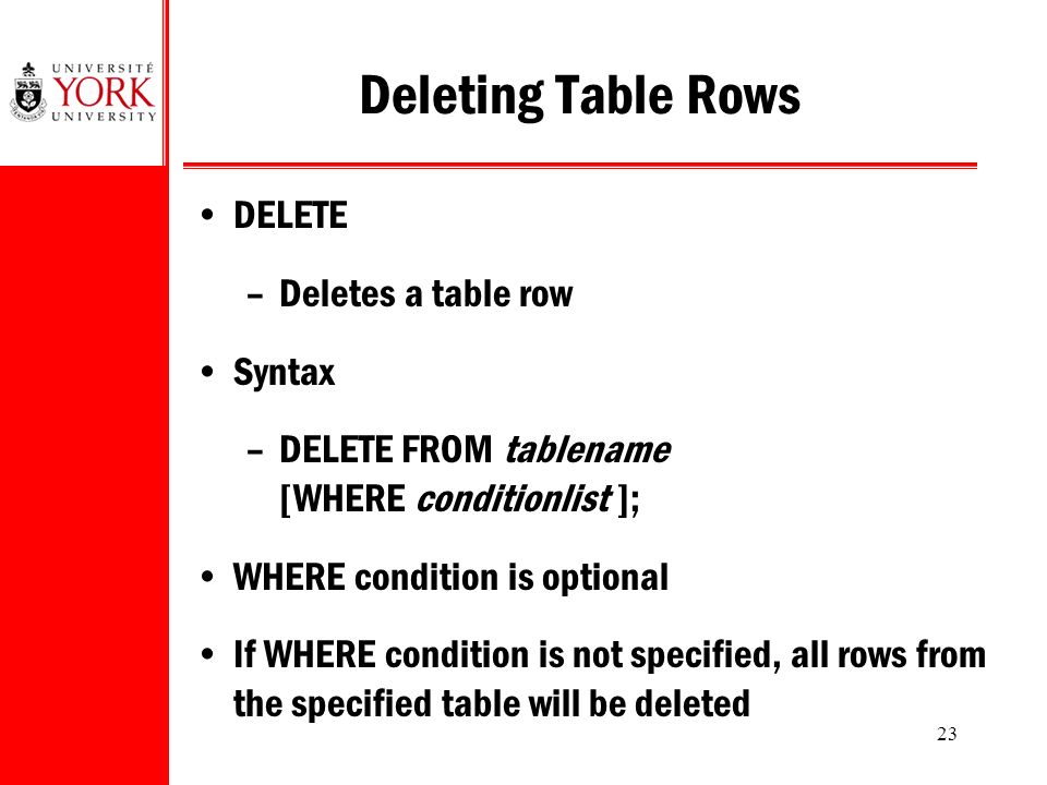 23 Deleting Table Rows DELETE –Deletes a table row Syntax –DELETE FROM tablename [WHERE conditionlist ]; WHERE condition is optional If WHERE condition is not specified, all rows from the specified table will be deleted