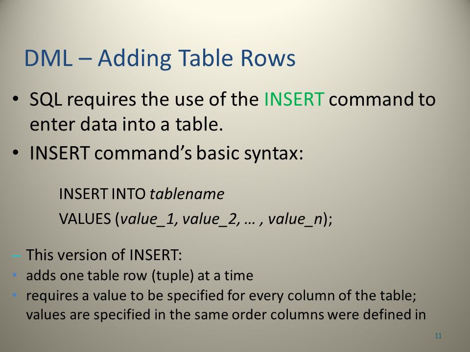 SQL requires the use of the INSERT command to enter data into a table.