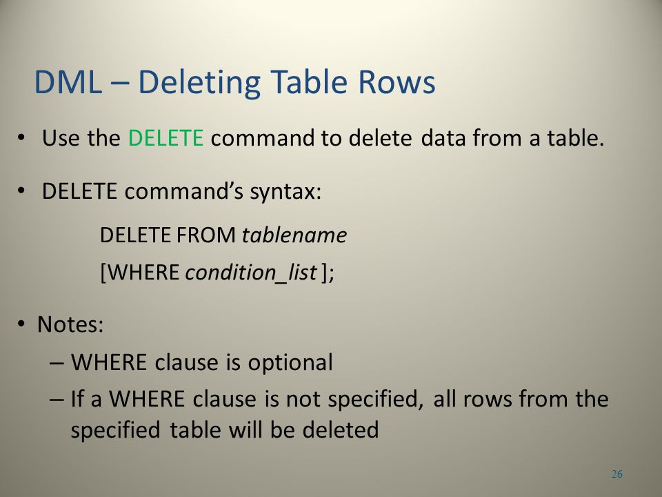 Use the DELETE command to delete data from a table.