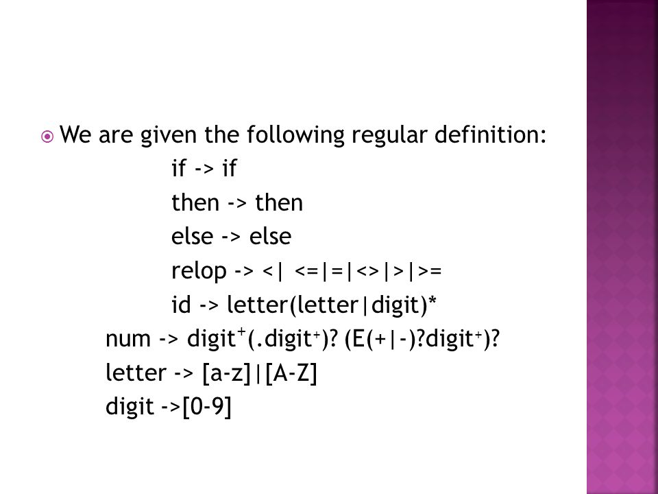  We are given the following regular definition: if -> if then -> then else -> else relop -> |>|>= id -> letter(letter|digit)* num -> digit + (.digit + ).
