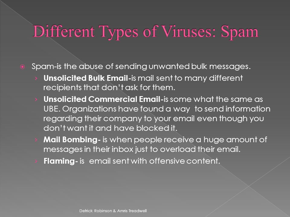  Spam-is the abuse of sending unwanted bulk messages.