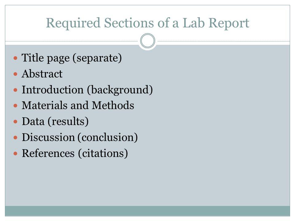 Lab report order