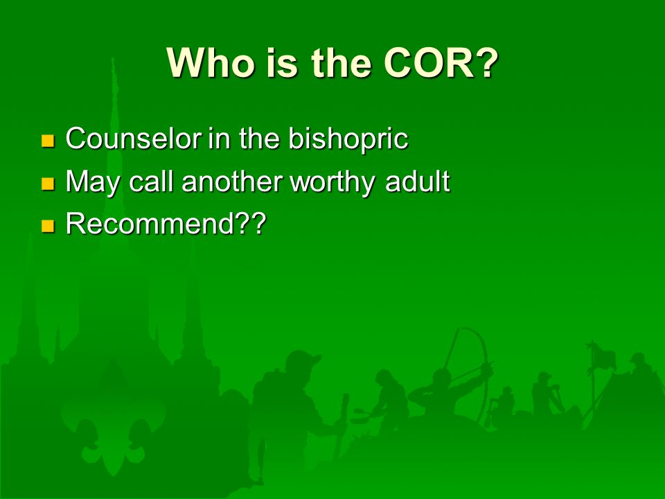 Who is the COR.
