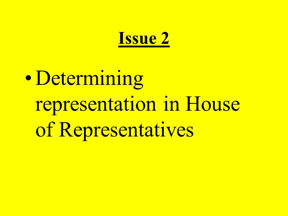 Issue 2 Determining representation in House of Representatives
