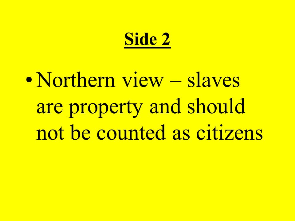 Side 2 Northern view – slaves are property and should not be counted as citizens