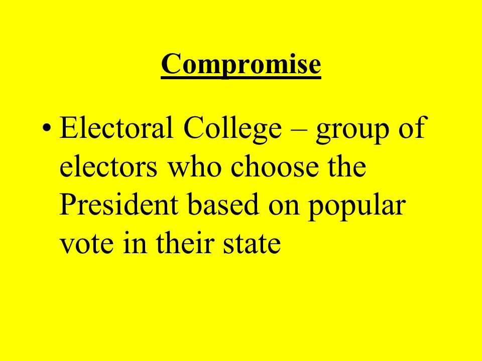 Compromise Electoral College – group of electors who choose the President based on popular vote in their state