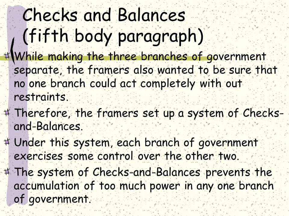 the system of checks and balances essay