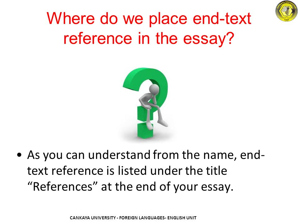 References in an essay