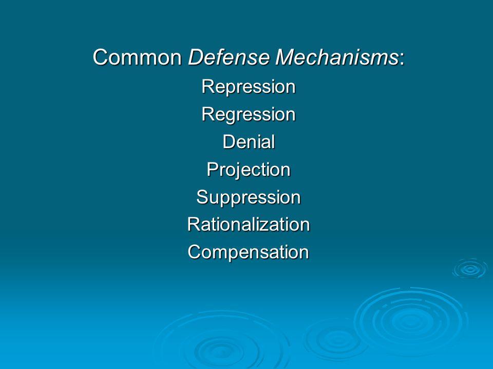 Common Defense Mechanisms: RepressionRegressionDenialProjectionSuppressionRationalizationCompensation