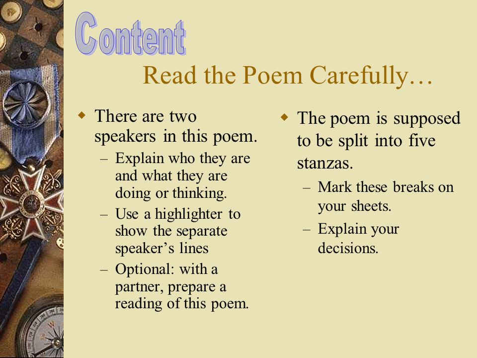 poem essays Essays contain an explanation of your ideas and evidence from the text the short story, poem, or play, you are doing so to remind your audience of something.