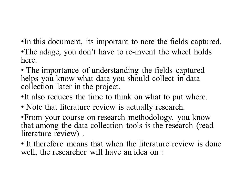 Importance of literature review