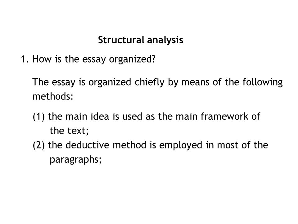 analyse how businesses are organised essay A helpful guide which shows how to critique a speech the content of the speech should be selected and organized speech analysis: how to critique a speech.