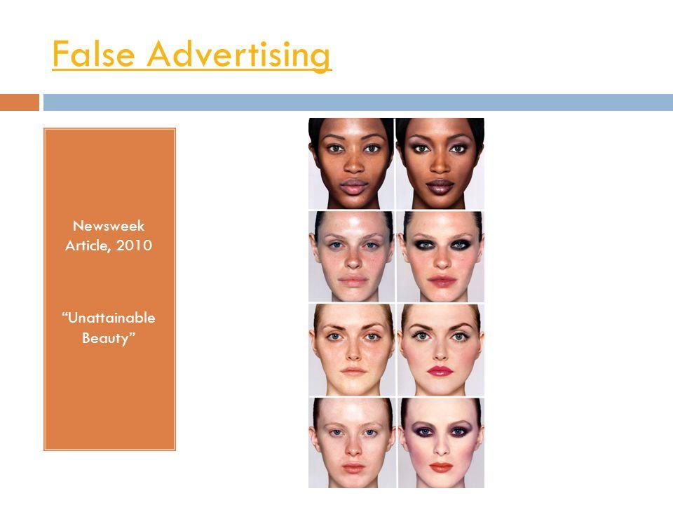 False Advertising Newsweek Article, 2010 Unattainable Beauty