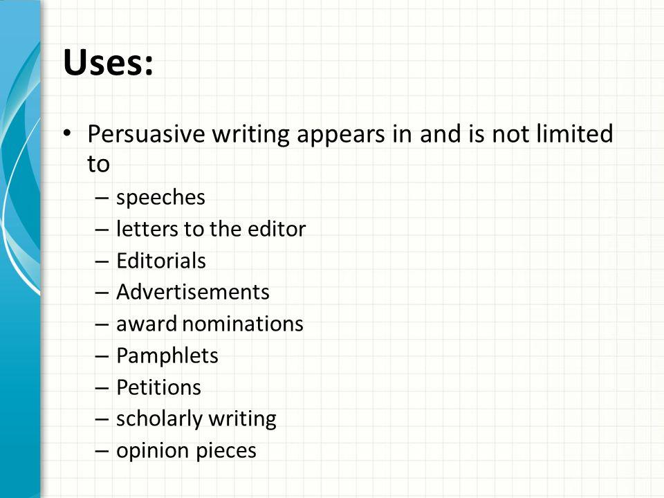 Letter to the Editor/ Persuasive Essay;;; subjectt?