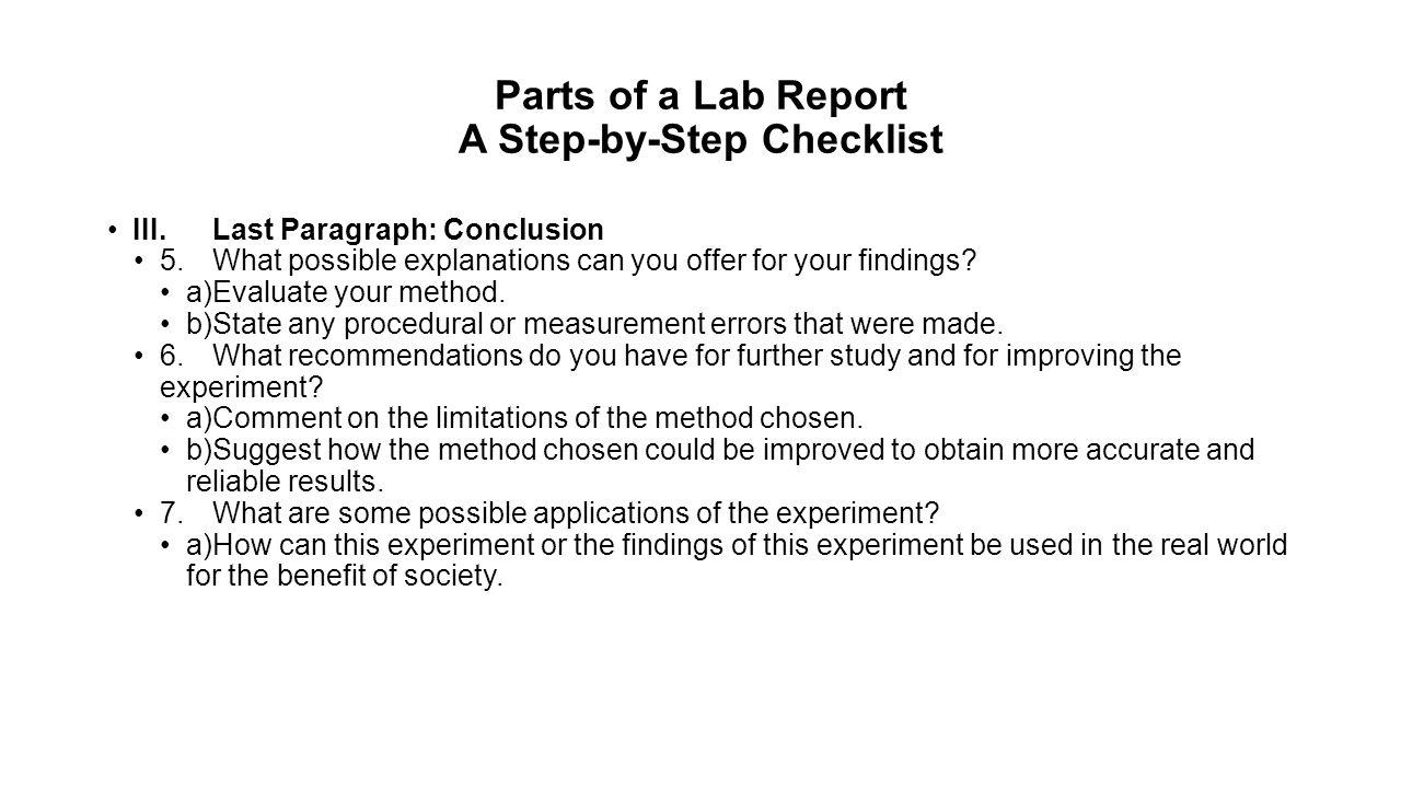 Lab report method