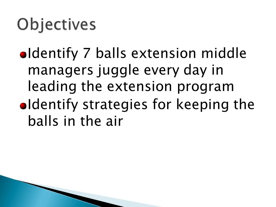 Identify 7 balls extension middle managers juggle every day in leading the extension program Identify strategies for keeping the balls in the air