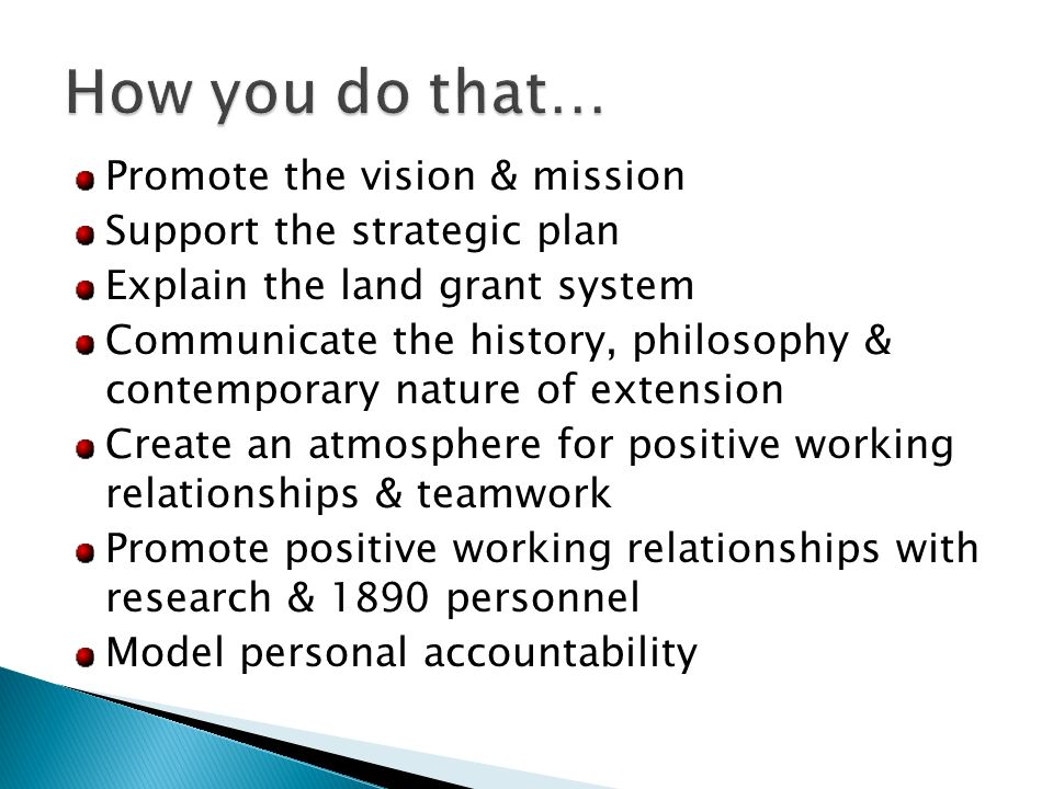 Promote the vision & mission Support the strategic plan Explain the land grant system Communicate the history, philosophy & contemporary nature of extension Create an atmosphere for positive working relationships & teamwork Promote positive working relationships with research & 1890 personnel Model personal accountability