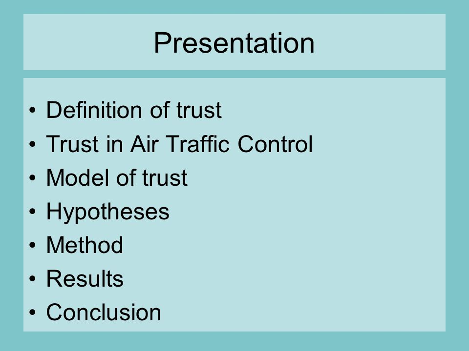 Good definition for control and trust?