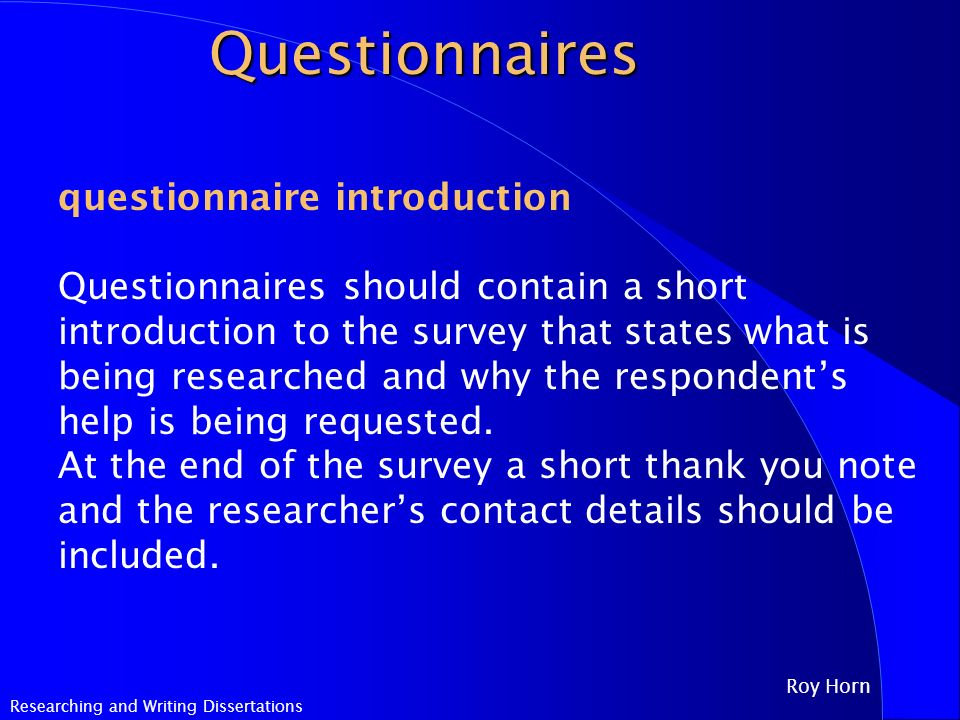 Writing Dissertation Questionnaire