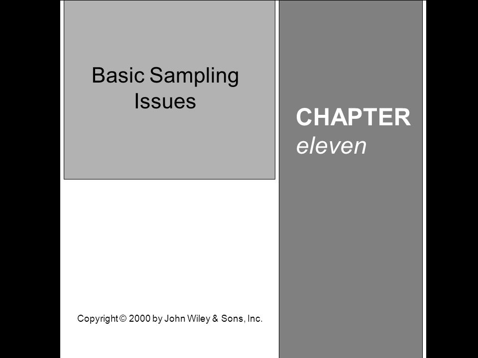 Learning Objective Chapter 11 Basic Sampling Issues CHAPTER eleven Basic Sampling Issues Copyright © 2000 by John Wiley & Sons, Inc.