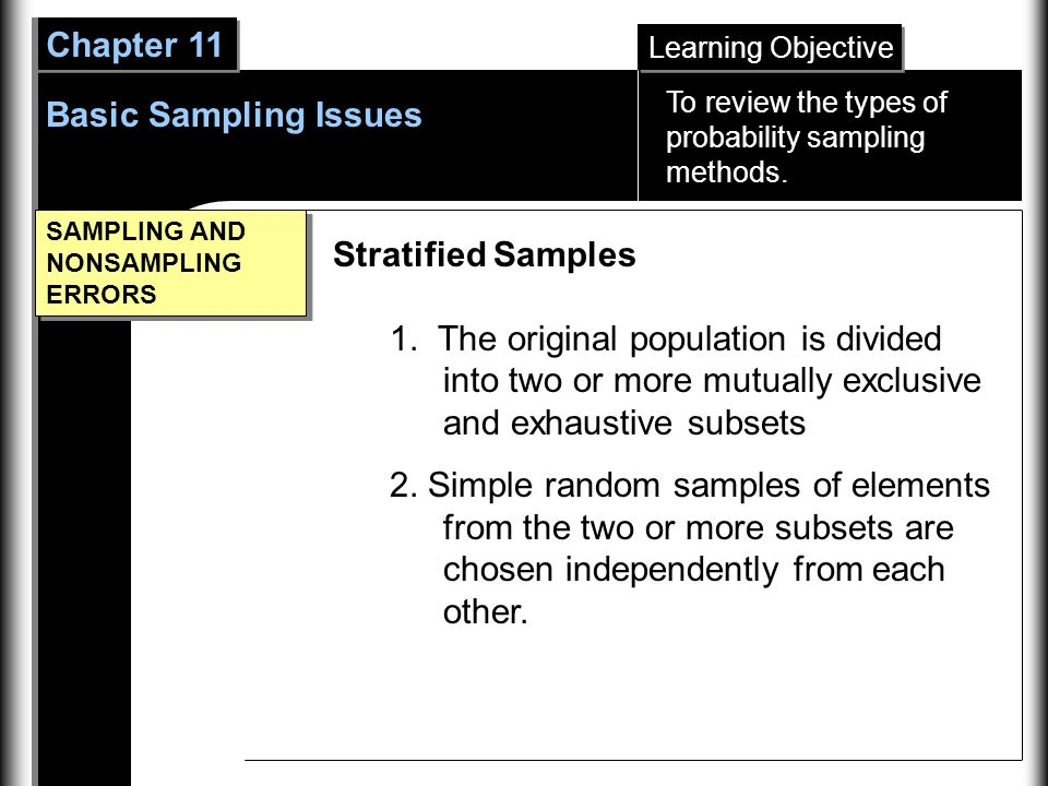 Learning Objective Chapter 11 Basic Sampling Issues SAMPLING AND NONSAMPLING ERRORS Stratified Samples 1.