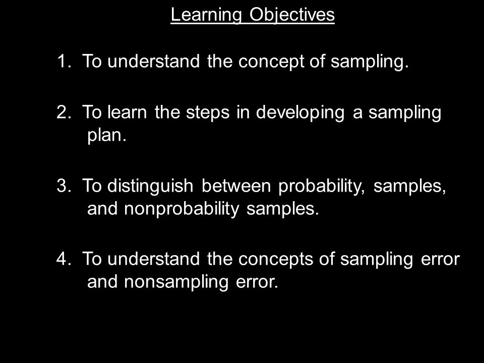 Learning Objective Chapter 11 Basic Sampling Issues Learning Objectives 1.