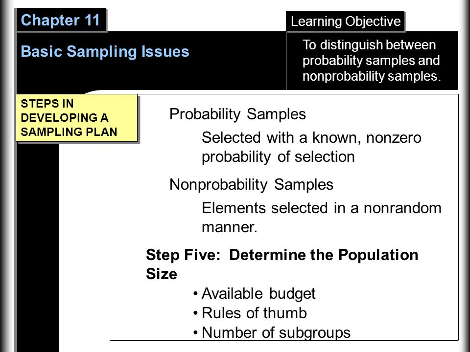 Learning Objective Chapter 11 Basic Sampling Issues STEPS IN DEVELOPING A SAMPLING PLAN Probability Samples Selected with a known, nonzero probability of selection Nonprobability Samples Elements selected in a nonrandom manner.