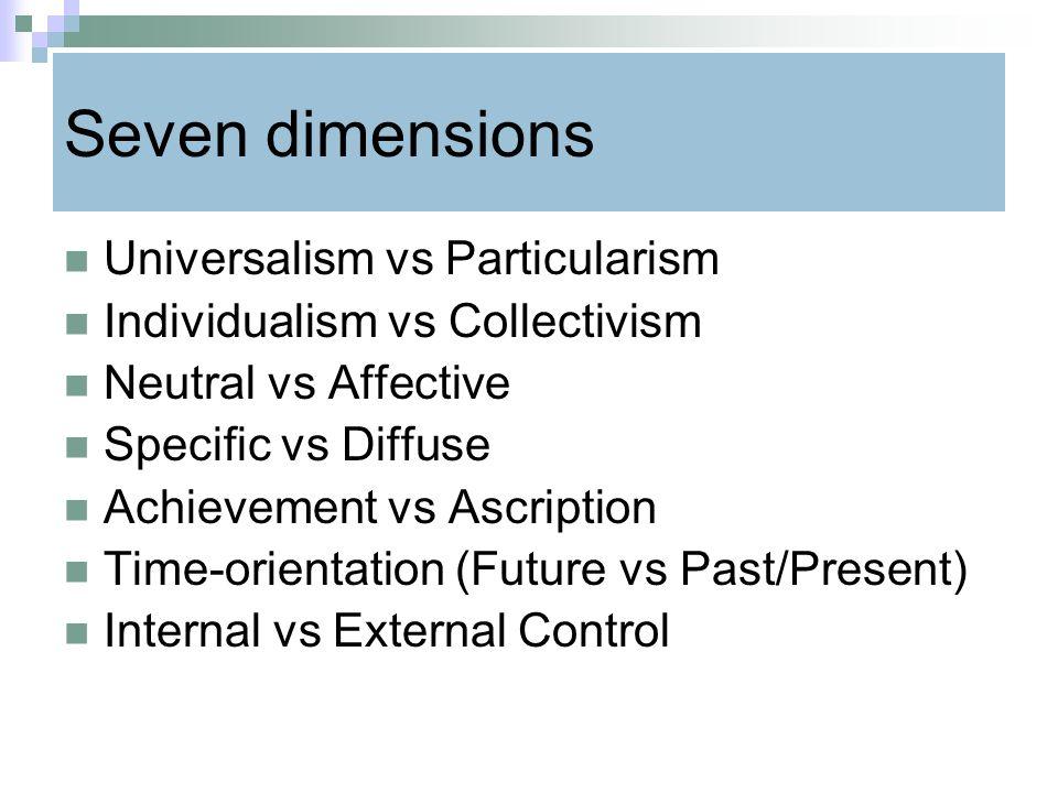 Seven dimensions Universalism vs Particularism Individualism vs Collectivism Neutral vs Affective Specific vs Diffuse Achievement vs Ascription Time-o