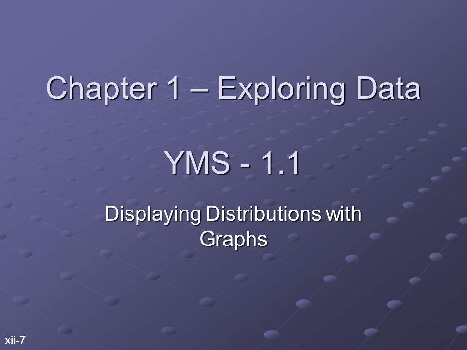 Chapter 1 – Exploring Data YMS Displaying Distributions with Graphs xii-7