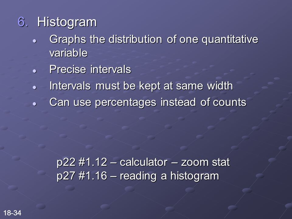 6.Histogram Graphs the distribution of one quantitative variable Graphs the distribution of one quantitative variable Precise intervals Precise intervals Intervals must be kept at same width Intervals must be kept at same width Can use percentages instead of counts Can use percentages instead of counts p22 #1.12 – calculator – zoom stat p27 #1.16 – reading a histogram