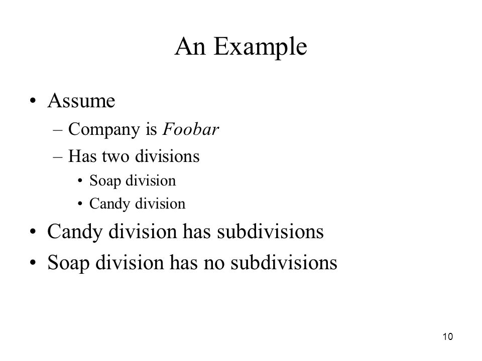 10 An Example Assume –Company is Foobar –Has two divisions Soap division Candy division Candy division has subdivisions Soap division has no subdivisions