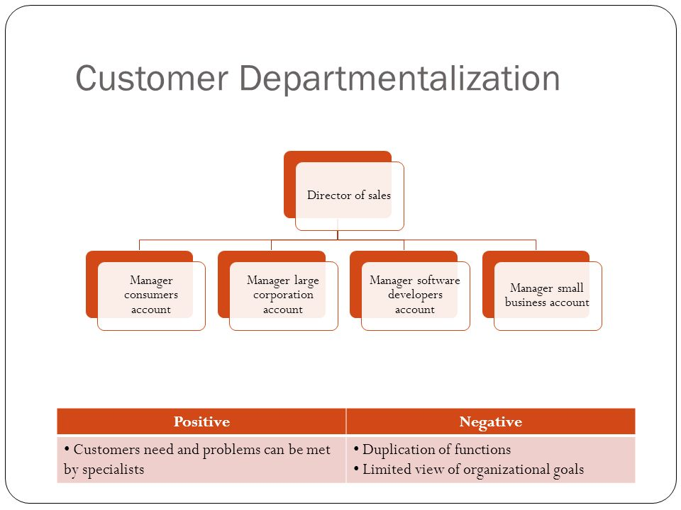 Customer Departmentalization PositiveNegative Customers need and problems can be met by specialists Duplication of functions Limited view of organizat