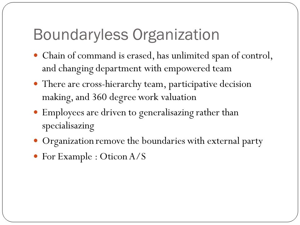 Boundaryless Organization Chain of command is erased, has unlimited span of control, and changing department with empowered team There are cross-hiera