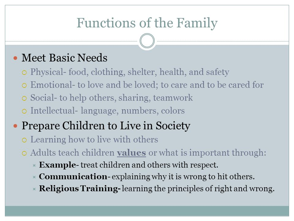 Functions of the Family Meet Basic Needs  Physical- food, clothing, shelter, health, and safety  Emotional- to love and be loved; to care and to be