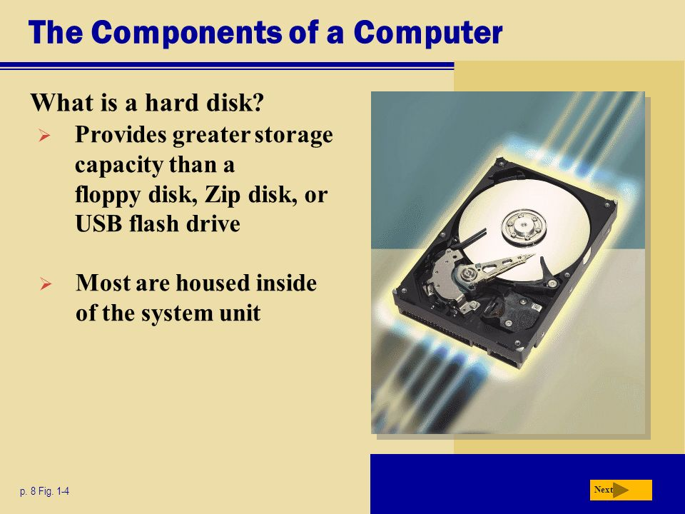 The Components of a Computer What is a hard disk. p.