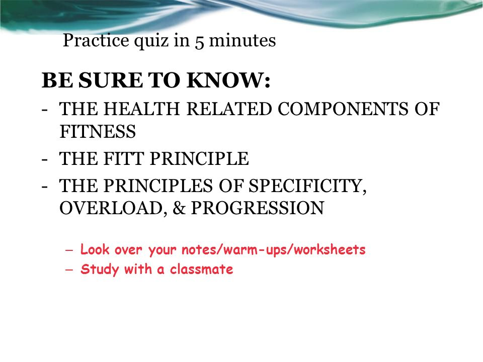 Fitness Project Criteria This sheet will guide your work on the – Fitt Principle Worksheet