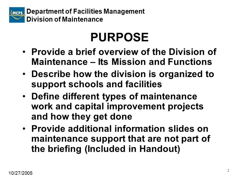 Department of Facilities Management Division of Maintenance