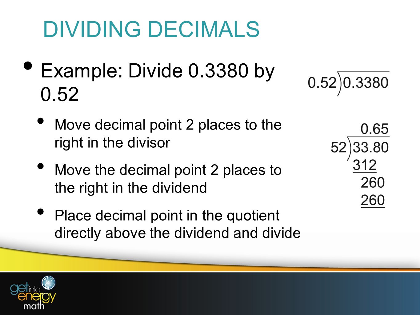 Worksheet Examples Of Dividing Decimals presentation 6 decimal fractions a dividing by powers of 10 since division is the inverse multiplication 10