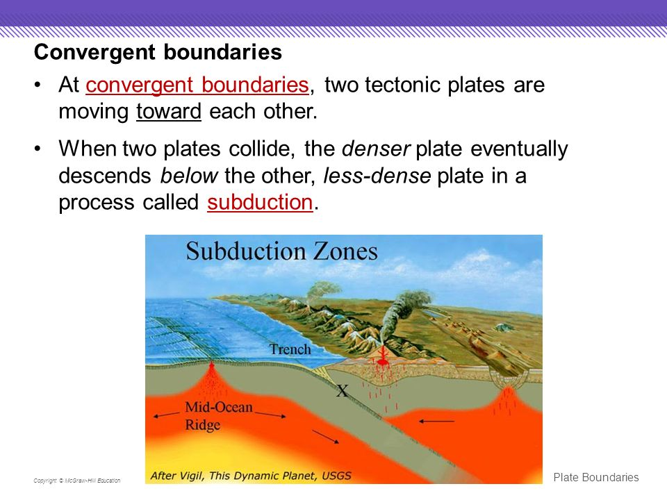 Plate Boundaries Copyright © McGraw-Hill Education Convergent boundaries At convergent boundaries, two tectonic plates are moving toward each other.