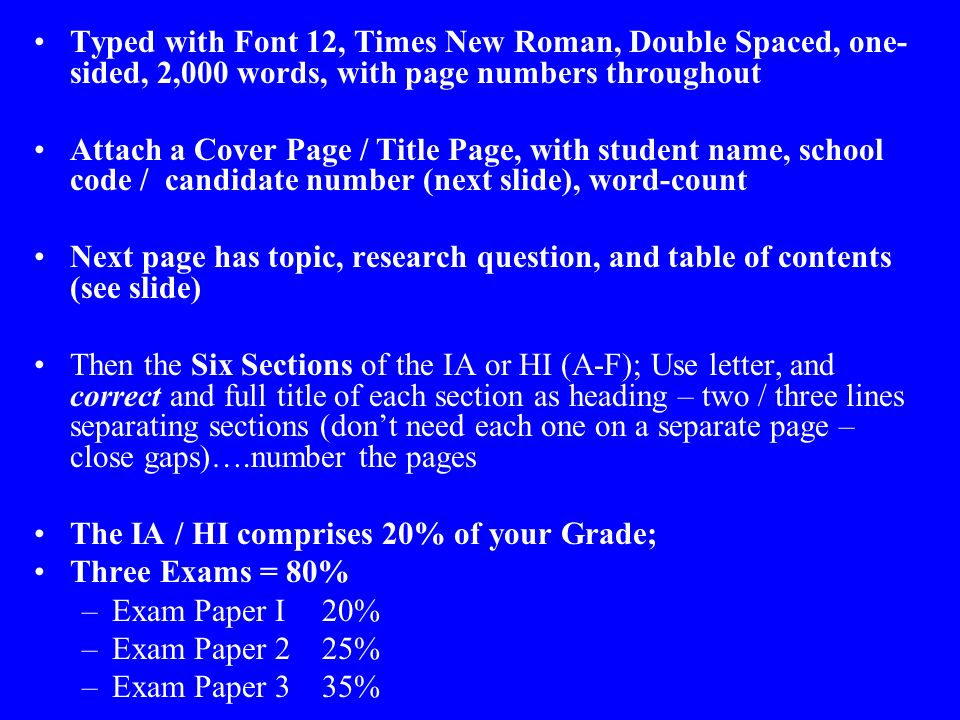 Extended essay table of contents example