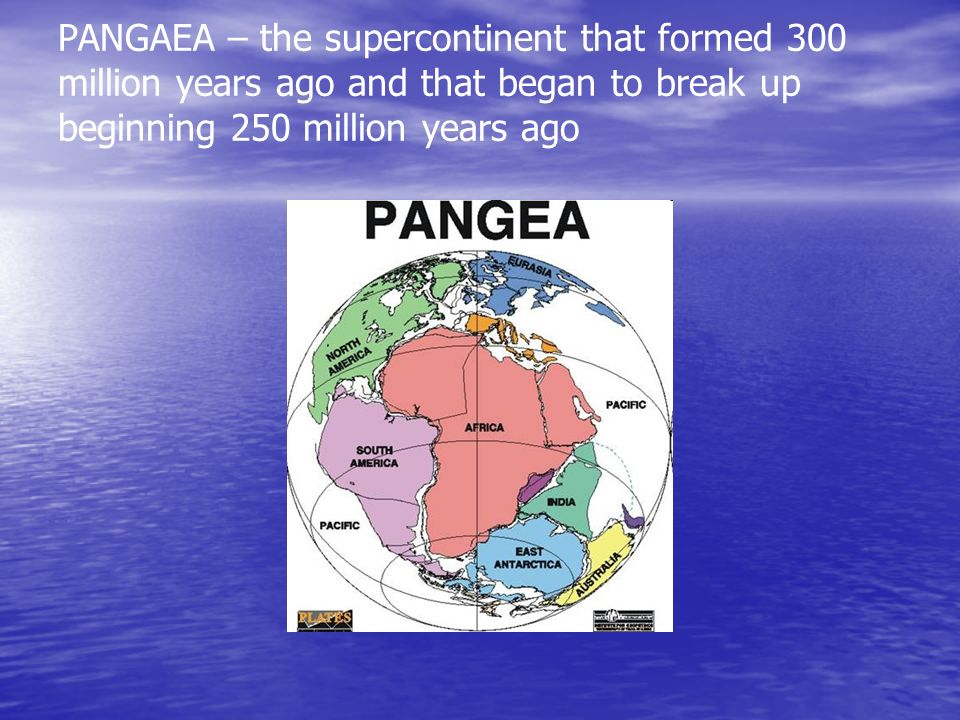 PANGAEA – the supercontinent that formed 300 million years ago and that began to break up beginning 250 million years ago