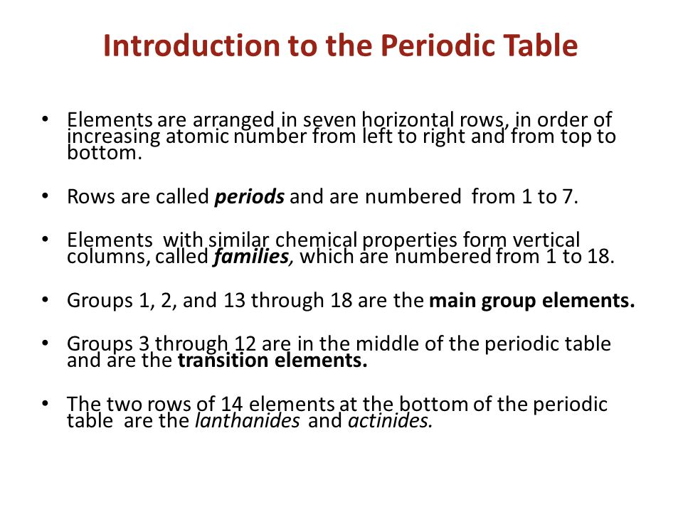Development of the periodic table mendeleevs periodic table if introduction to the periodic table elements are arranged in seven horizontal rows in order of urtaz Choice Image
